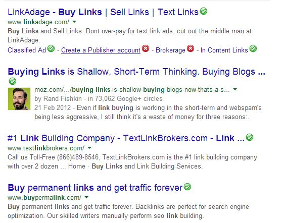 Buying links Google search