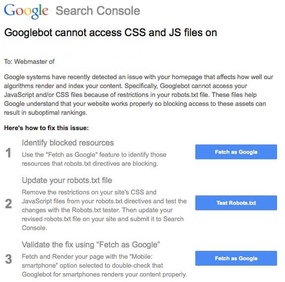 Googlebot error message