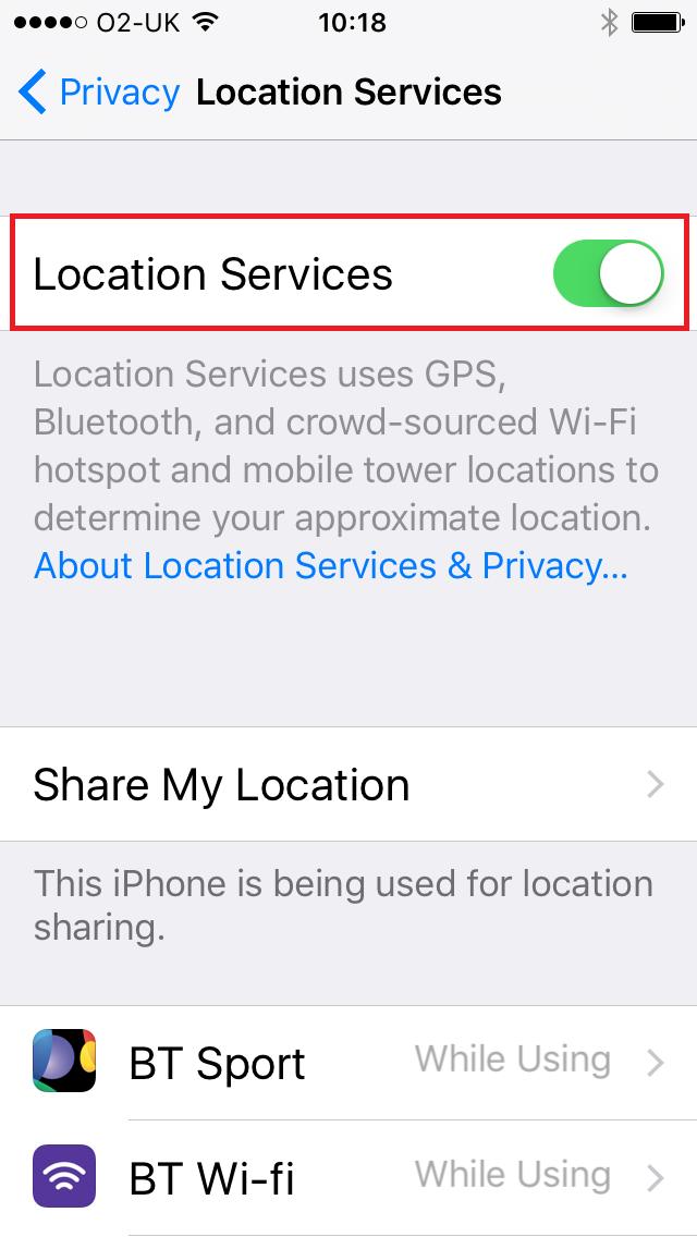 iPhone hidden tracking settings
