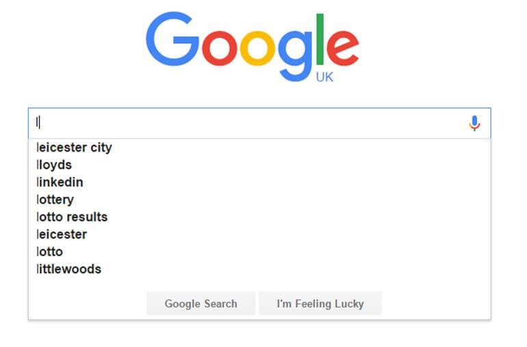 Google autocomplete leicester