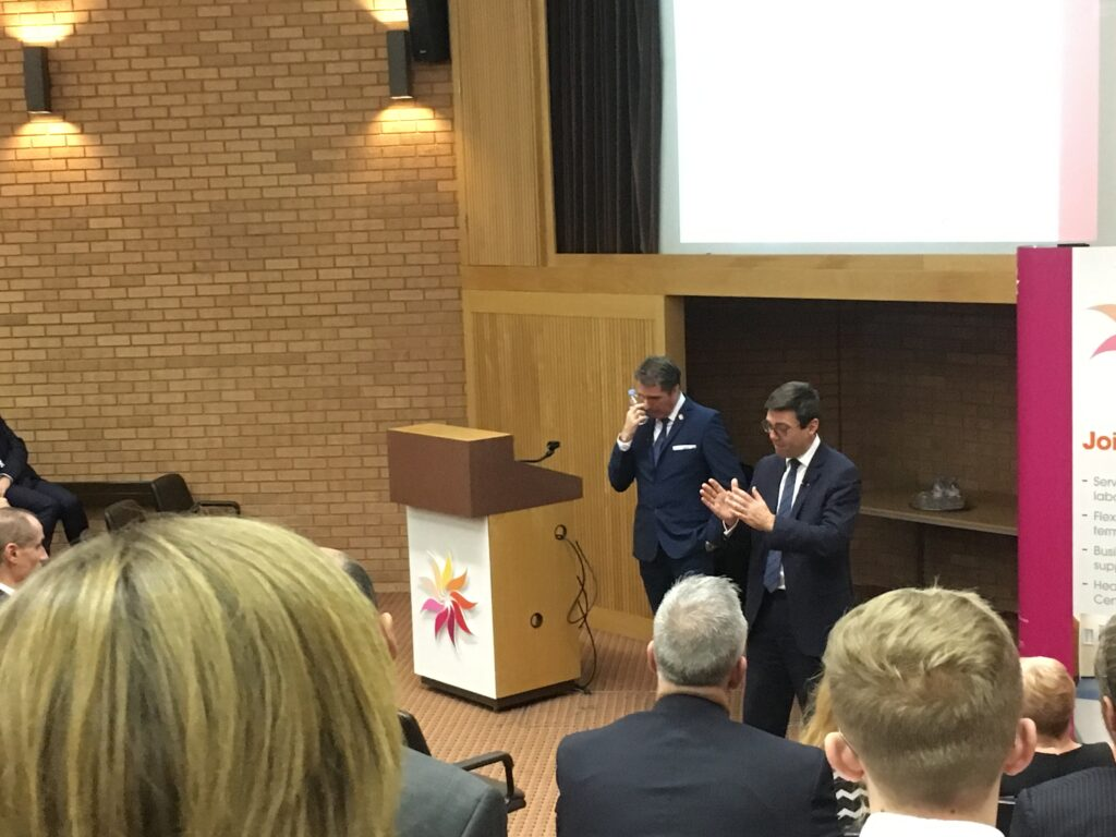 Steve Rotherham and Andy Burnham presenting at The Heath Business & Technical Park 24th November 2016
