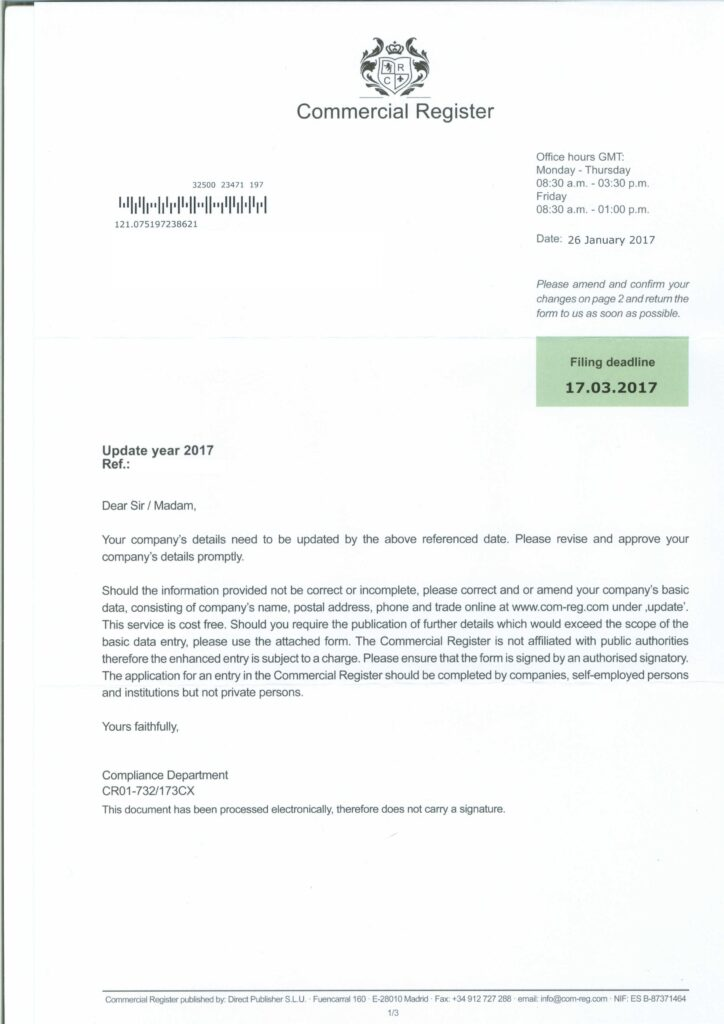 Commercial Register Scam Letter