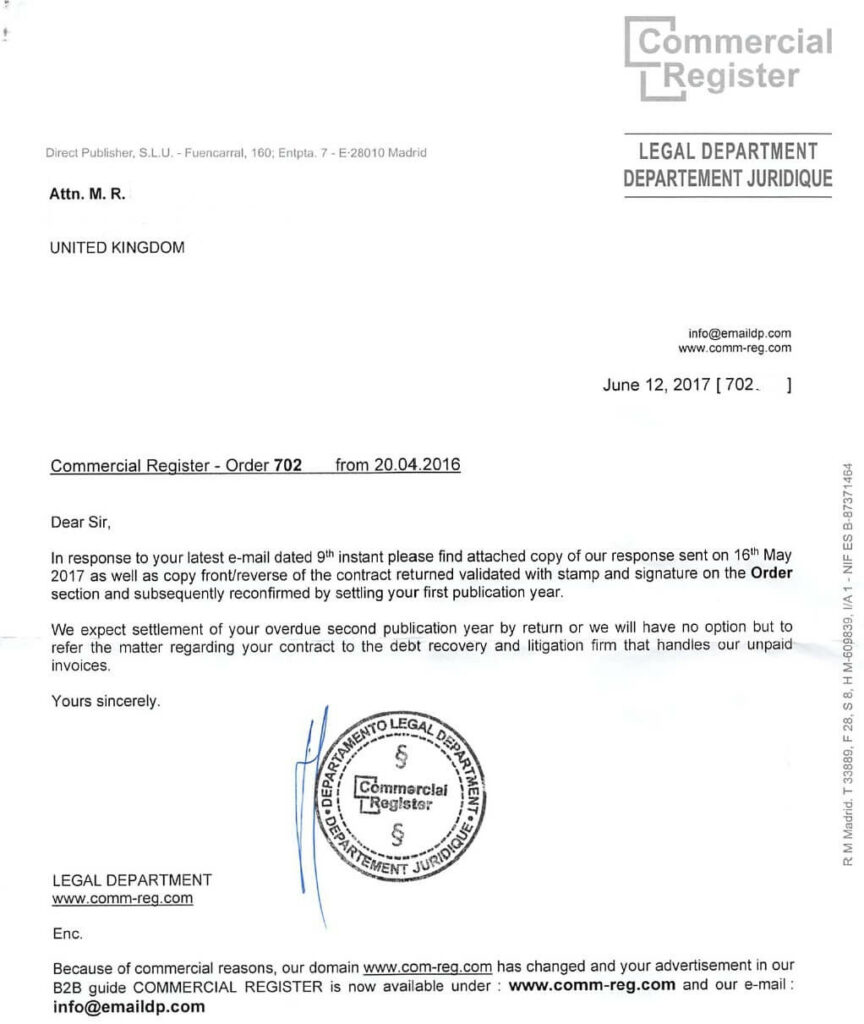 Commercial Register Scam Letter 1