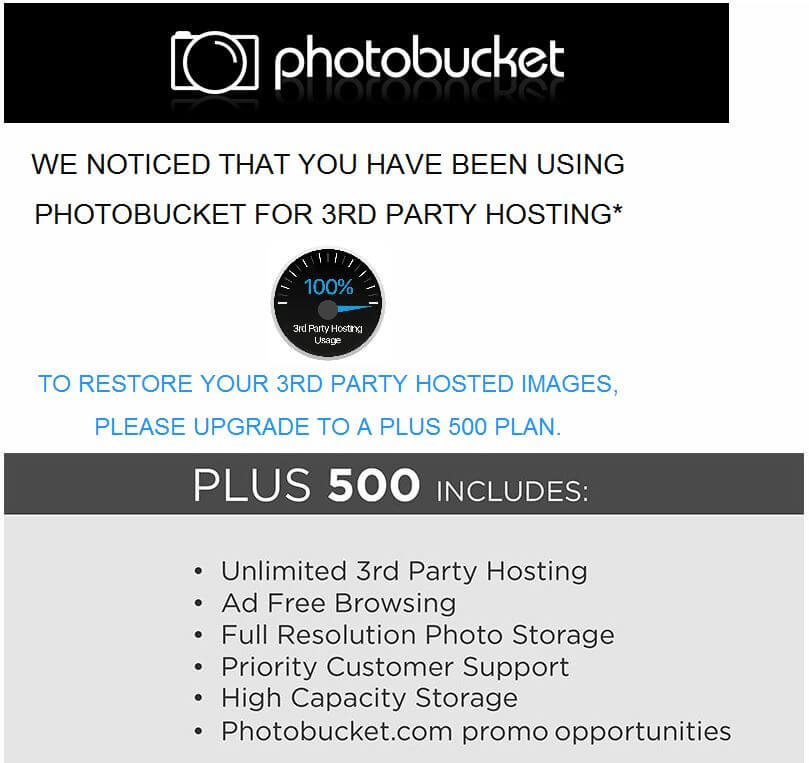 Photobucket P500 3rd Party Hosting emaill