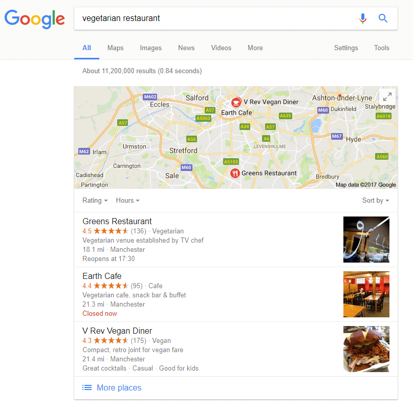 Google Local Search Desktop