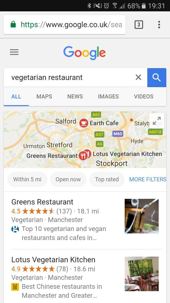 Google Local Search Mobile