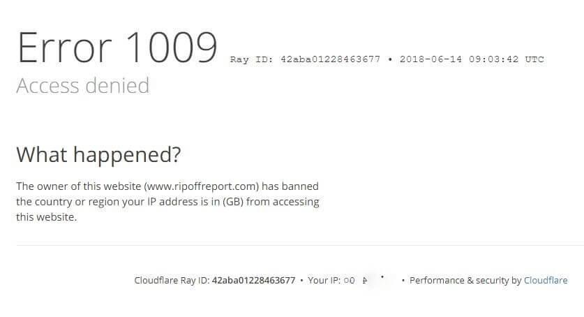 GDPR Blocking Screen - rip off report