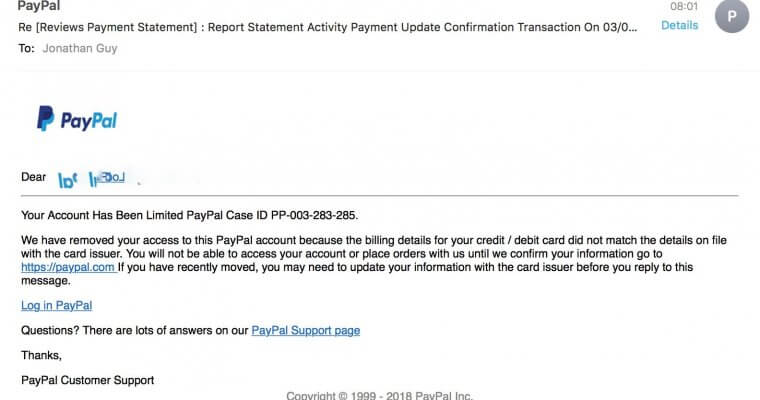 Paypal scam
