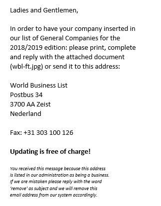 World Business List Global Business Registry scam 1