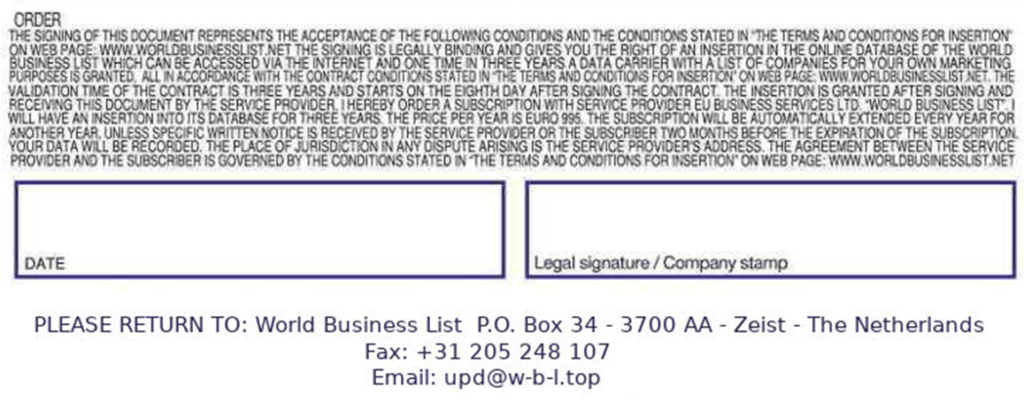 World Business List Global Business Registry scam 4