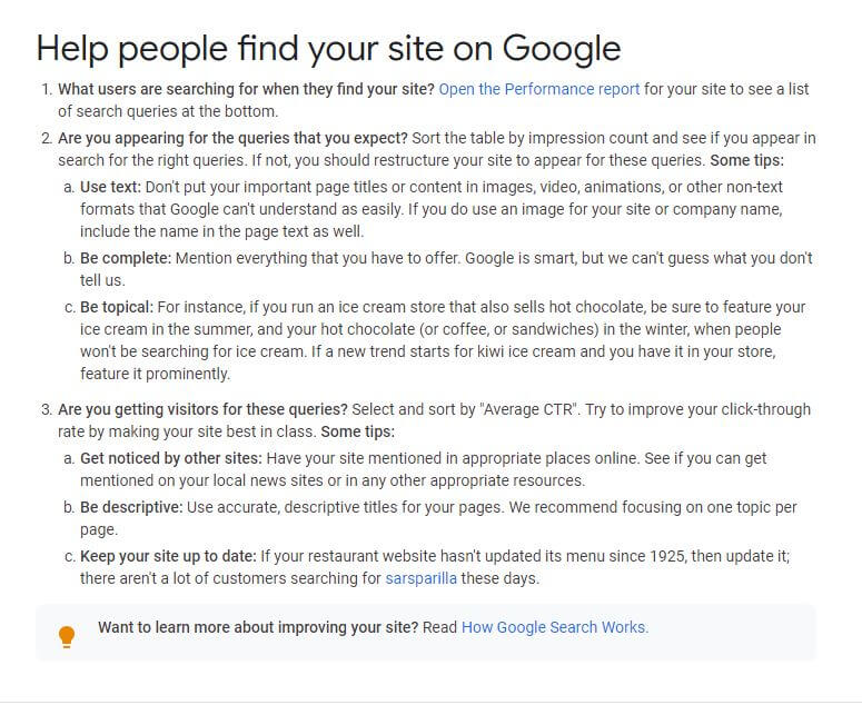 Google Webmaster Advice
