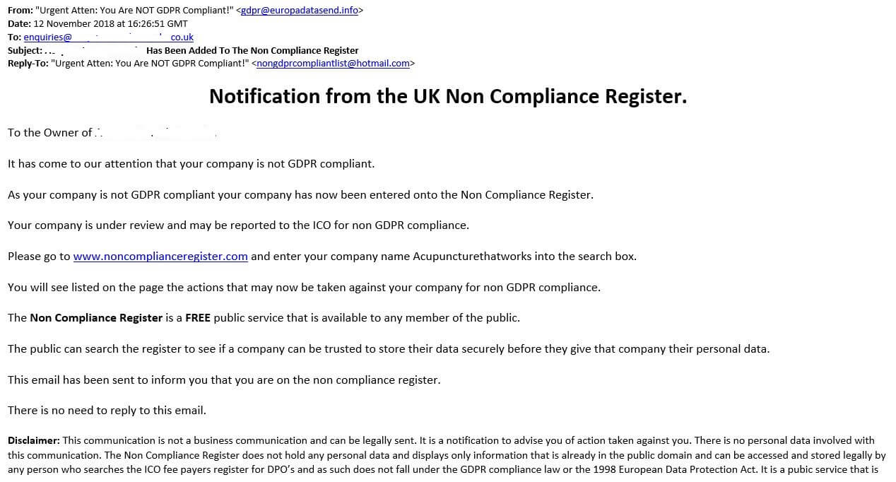 UK Non Compliance Register Scam Email