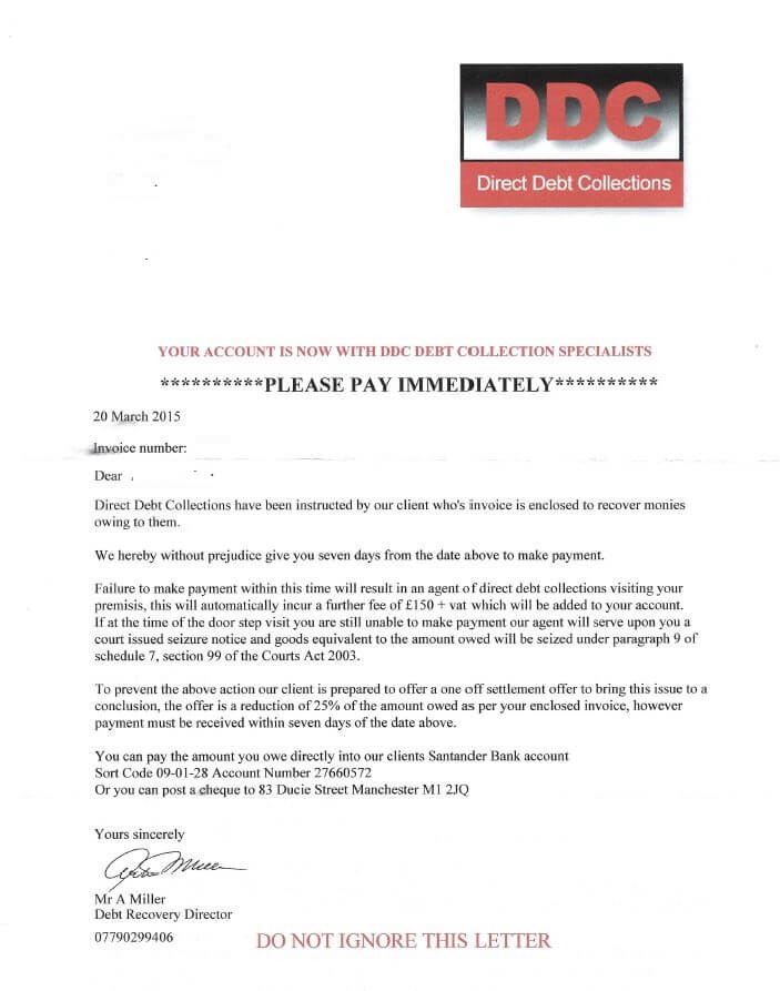 DCC Scam Debt Collection Letter
