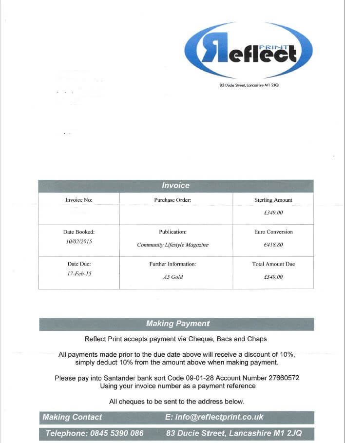 Reflect Print Invoice 1