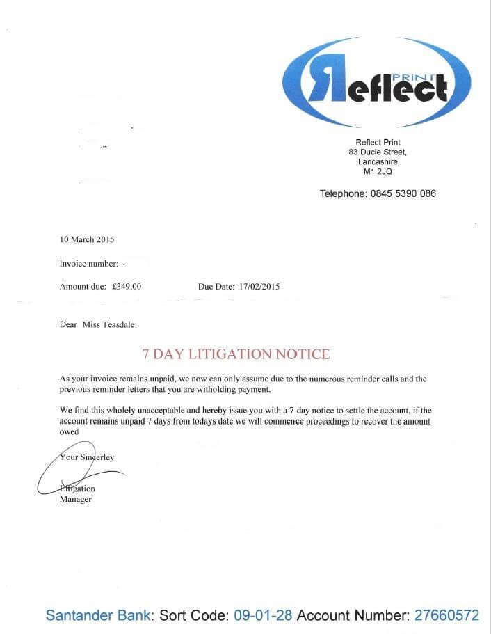 Reflect Print Invoice 2