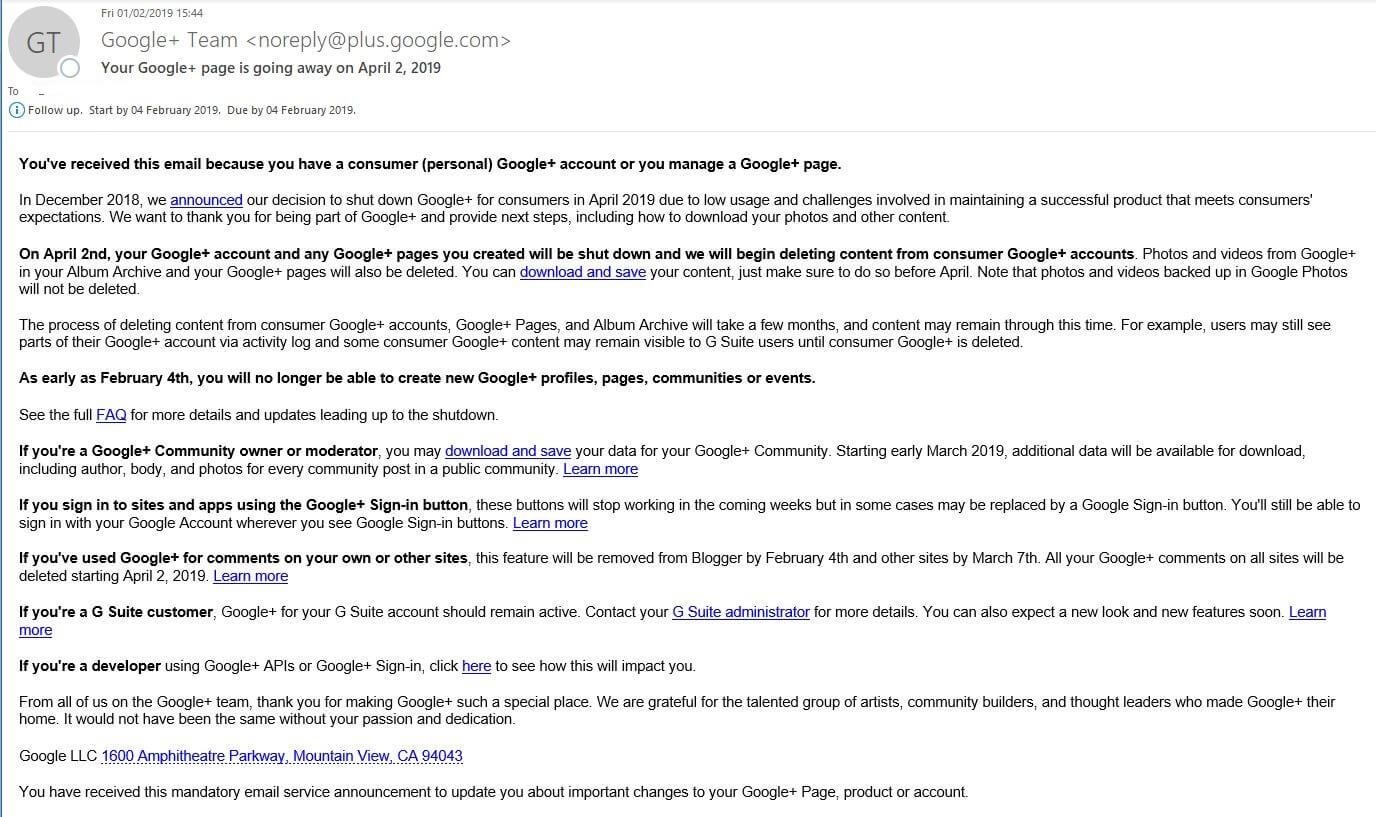 Google Plus Retirement Letter