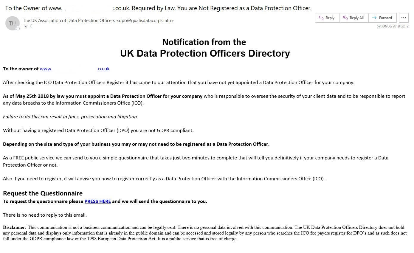 Email from The UK Association of Data Protection Officers