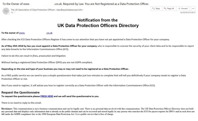 ICO DPO Scam Email