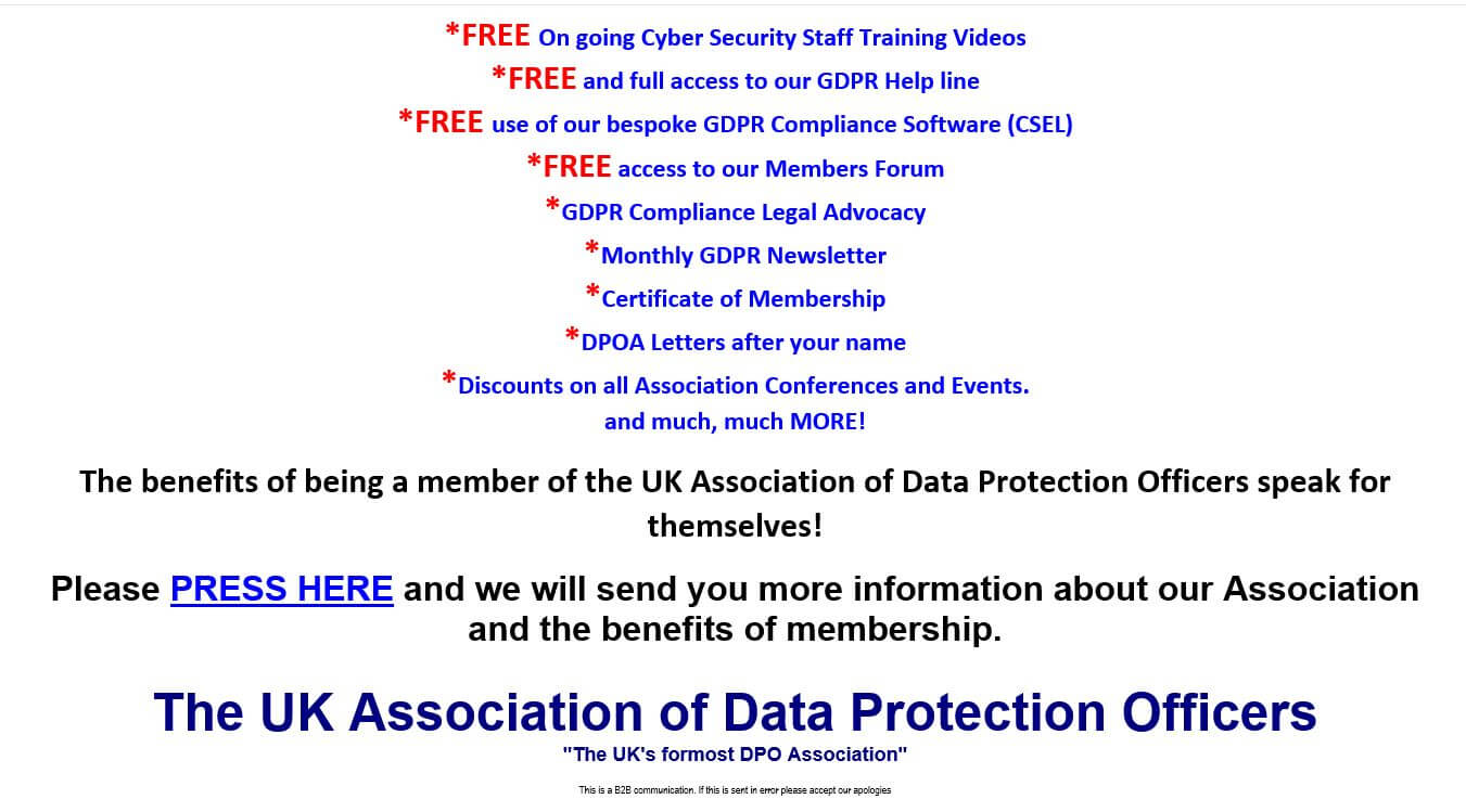 Email from The UK Association of Data Protection Officers? It's a scam