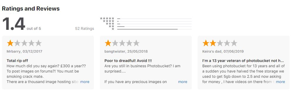Photobucket App Store Reviews