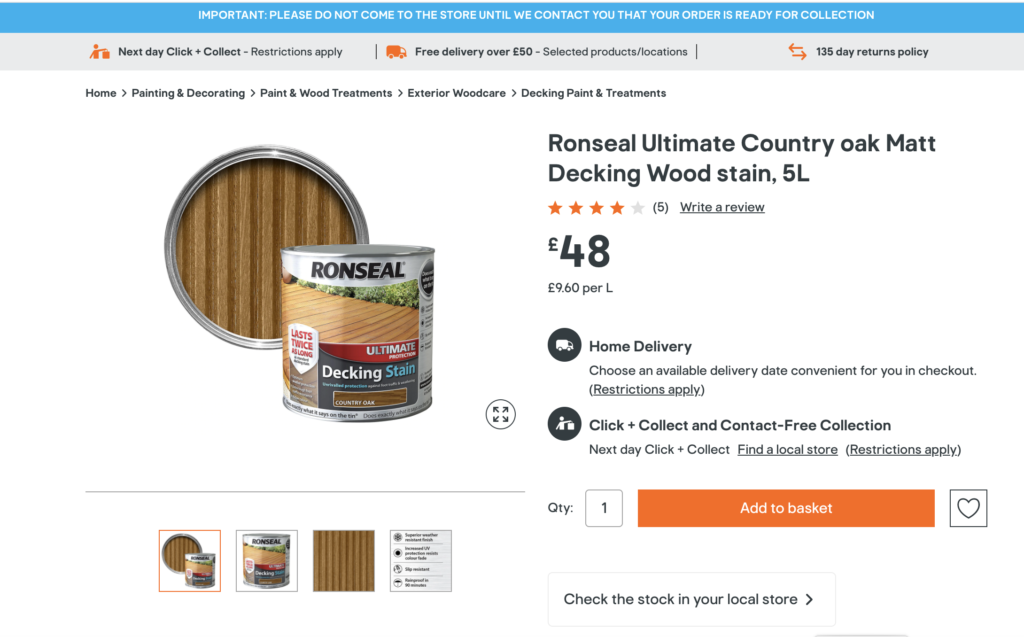Ronseal Country Oak Decking Oil 5L B&Q April 2020