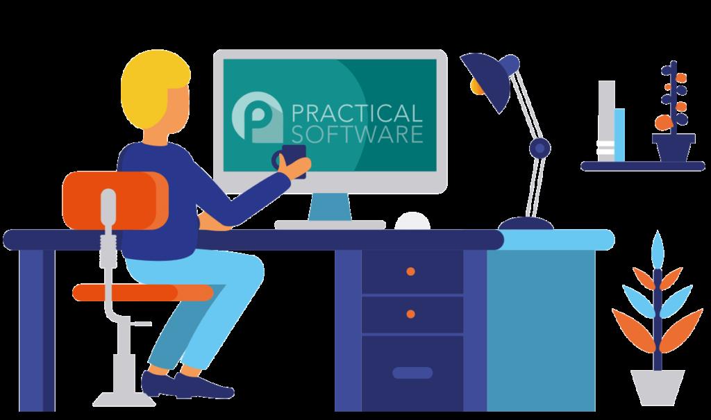 Practical software computer user illustration