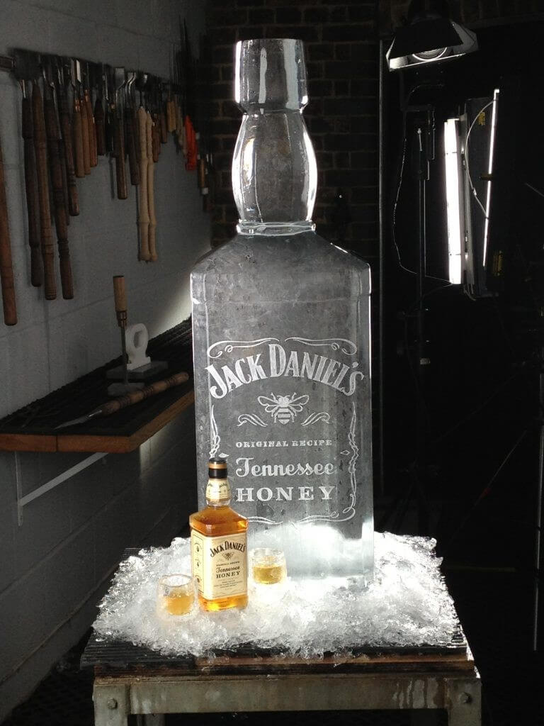 Jack Daniels bottle made of ice