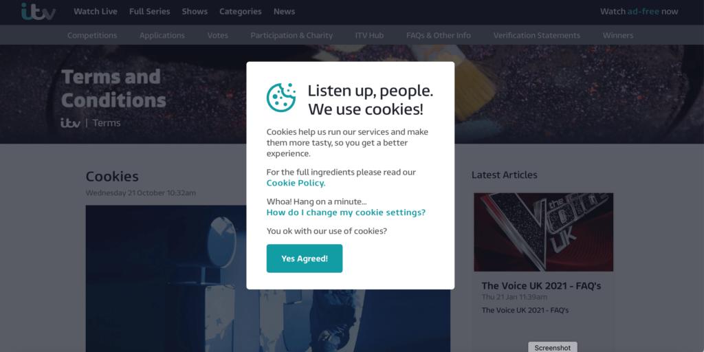 ITV.com cookies pop up Desktop