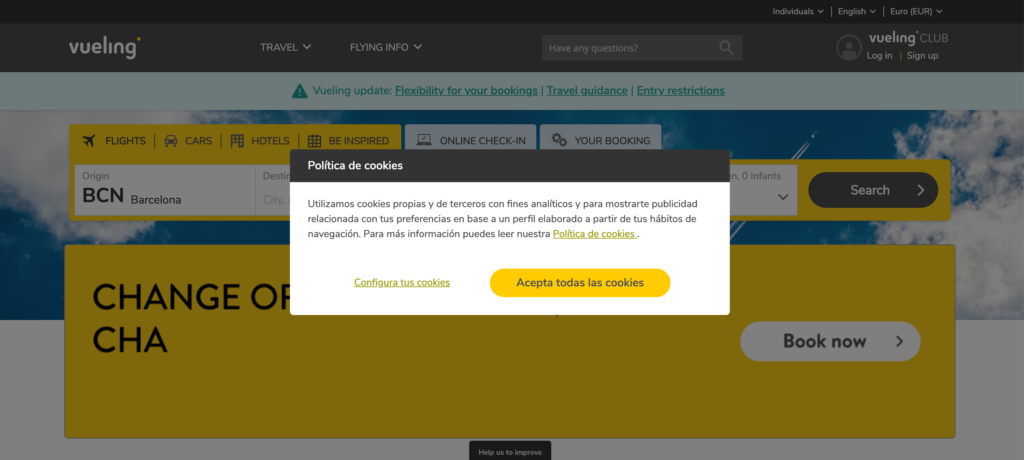 The now compliant Vueling website
