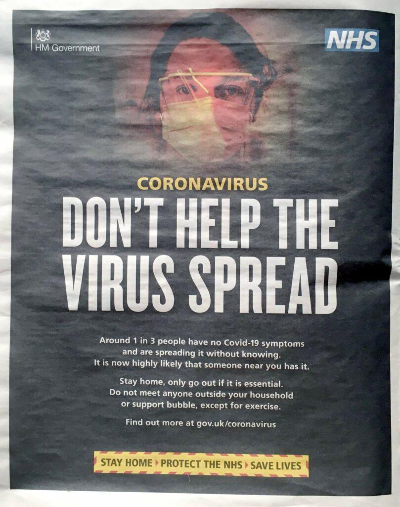 Government Coronavirus Advertisement 'i' newspaper 20th January 2021